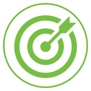 Illustrated bullseye with arrow in center