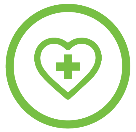 Heart icon with plus sign in the middle