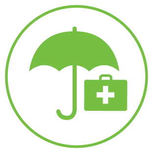 Illustrated first aid bag under umbrella