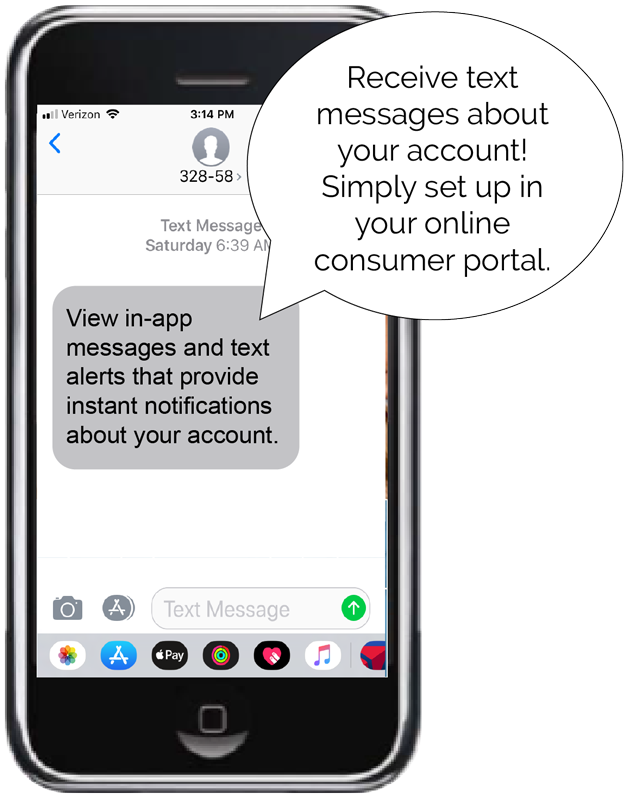 mobile phone showing text message alert from benefits mobile app