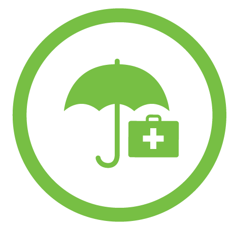 first aid kit under umbrella icon