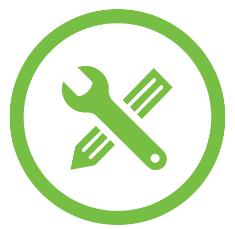 wrench crossed over pencil icon
